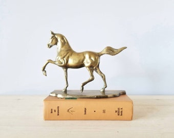 Vintage brass horse figurine trotting horse statue | equestrian decor |