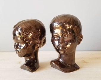 Vintage girl and boy sculpture | head sculpture | Hollandware busts |