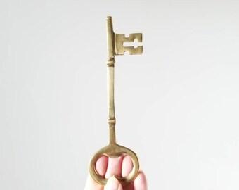 Vintage large brass key bottle  opener | large brass skeleton key | decorative key |