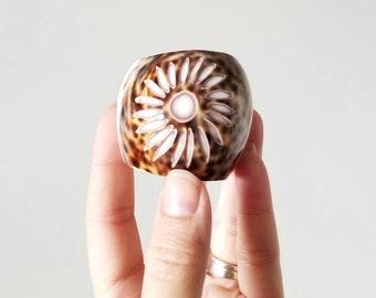 Vintage cowrie shell napkin rings set of 10 | entertaining decor | hostess gift | napkin holders |