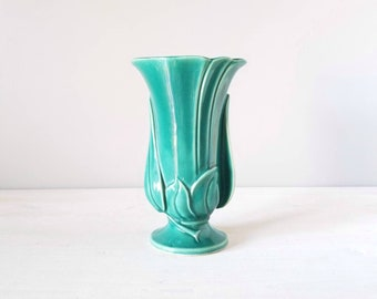 Vintage Art Nouveau vase | green flower vase made in USA | art deco vase |