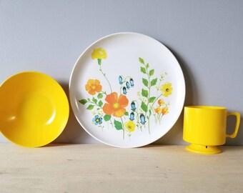 Vintage Brookpark melamine dinnerware set of 12 pieces | patio tableware |