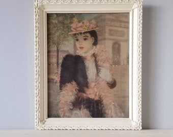 Vintage art print Premiere au Rendez - vous by Huldah | french lady |