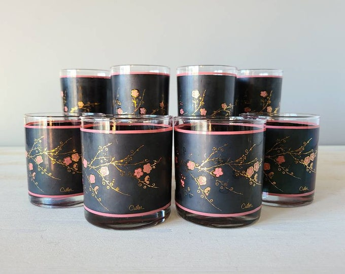 Vintage Cutler cherry blossom highball and old fashioned glass set of 8 | black, pink and 22 k gold cocktail glasses |