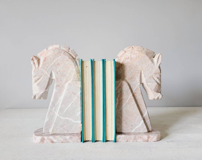 Vintage large marble horse bookends | home office decor | marble book ends | onyx |