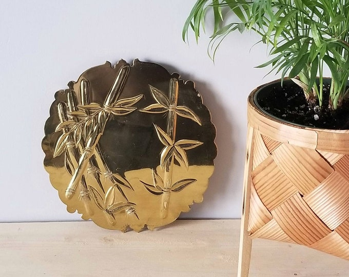Vintage bamboo design trivet gold finish  |  Trivet for hot dishes | Bohemian decor |