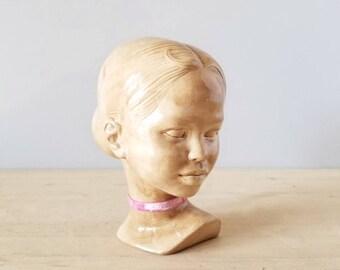 Vintage ceramic bust of little girl | head sculpture | Hollandware busts | kids room | nursery decor |