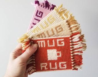 Vintage mug rug coasters set | kitschy kitchen decor |