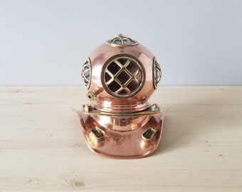 Vintage copper and brass diving helmet model | steam punk style collectable |