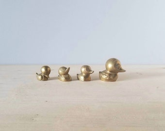 Vintage brass ducks family | brass birds | cute family of mama and baby ducks | kids room | nursery decor |