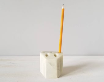 Vintage marble pencil holder | home office | office storage | bohemian decor |