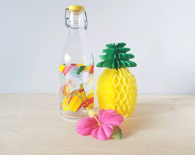 Vintage Italian Cerve glass juice bottle | colorful decanter | iced tea lemonade pitcher |