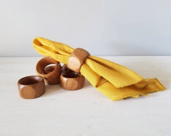 Vintage wooden napkin rings set of 6 | entertaining decor | hostess gift | holiday table setting |
