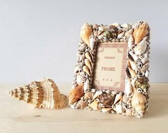 Vintage seashell picture frame | shell craft photo frame handmade |