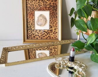 Vintage brass mirrored vanity tray   filigree tray   makeup table accessory   bedside table storage  