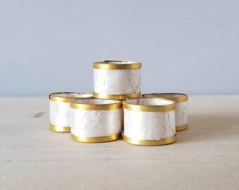 Vintage capiz shell napkin rings set of 4 | entertaining decor | hostess gift |