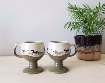 Vintage pair of horse mugs by otagiri Japan | equestrian decor for horse lovers