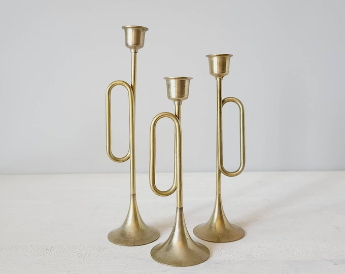 Vintage brass horn candlestick holders set of 3 | trumpet candle holders |