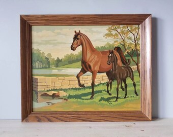 Vintage paint by numbers framed horse painting