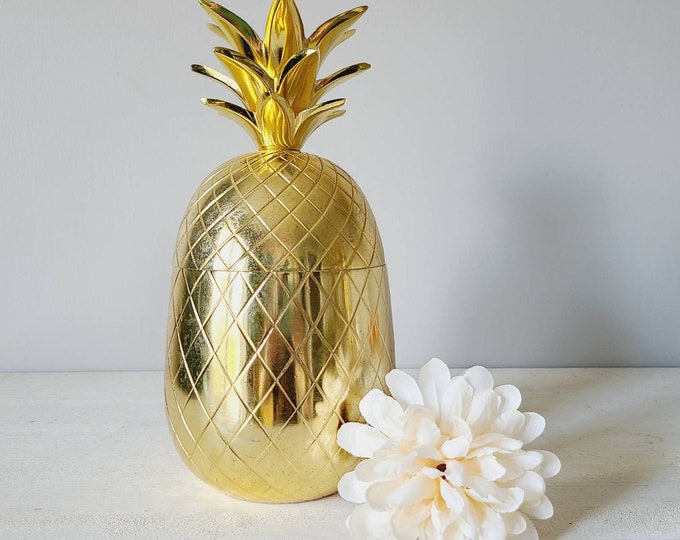Vintage large pineapple trinket box | gold pineapple | bar accessories | ice bucket |