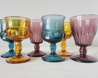 Vintage wine / cordial glasses | curated collection of six small multi colored goblets | wedding decor | holiday table |