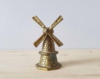 Vintage brass windmill bell | Dutch souvenir bell |