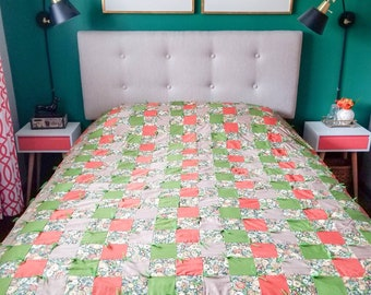 Vintage patchwork quilt in orange and green | bohemian home decor |