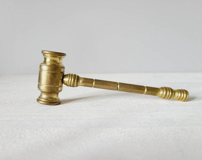 Vintage solid brass gavel | brass hammer | auction hammer