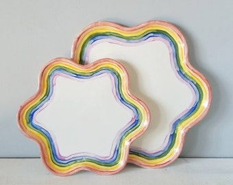 Vintage rainbow pottery tray pair | star shaped plate | serving platters |