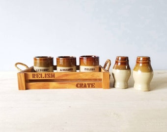 Vintage condiment server set | relish pots with salt and pepper shakers |