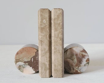 Vintage marble bookends | post modern bookends | geometric |