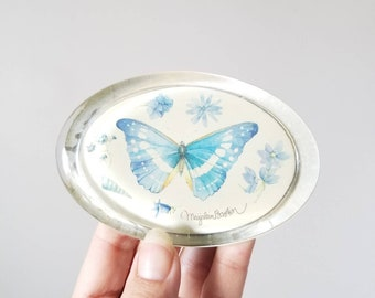 Vintage Marjolein Bastin butterfly paperweight | eighties decor | Dutch artist illustrator |