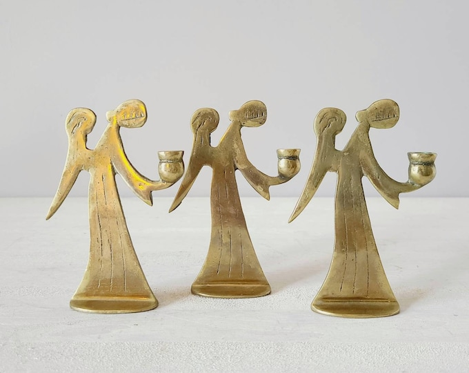 Vintage brass angel candle holder set of three | Christmas candlestick holders |
