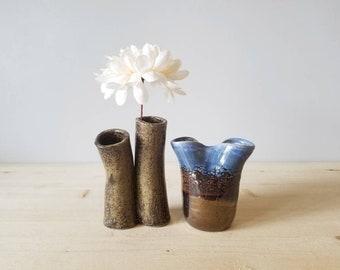 Vintage bud vase pair | ceramic studio pottery vases | propagation vases |