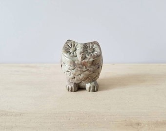 Vintage soapstone owl figurine sculpture | owl paperweight |