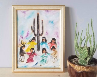 Vintage framed painting of children dancing around a cactus | framed art | Mexican style | Santa Fe style | New Mexico |