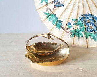Vintage beautiful brass swan dish | decorative bowl | trinket dish |