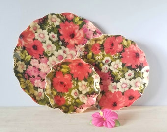 "Vintage floral tray set of 3 | ""fab"" tray set 