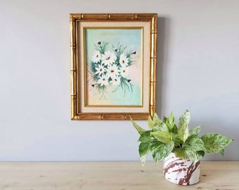 Vintage framed floral oil painting | framed art daisies | faux bamboo frame 3