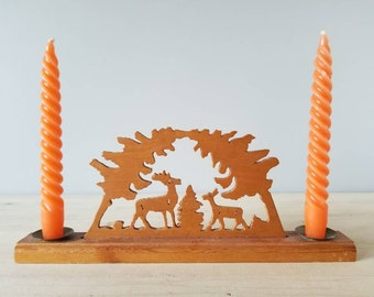 Vintage Erzgebirge style candle holder with deer and tree cut outs | German trellis style candle holder |