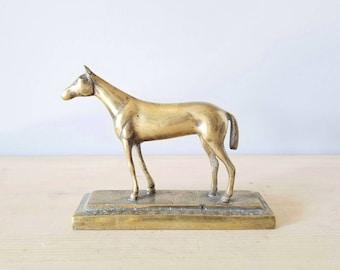 Vintage brass horse figurine trotting horse statue | equestrian decor |