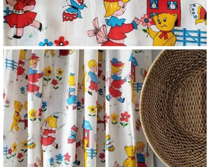 Vintage children's curtain panels | Scandinavian style kids drapes | vintage curtains