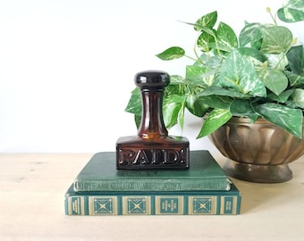 Vintage Avon bottle paid stamp | amber glass perfume / cologne bottle |