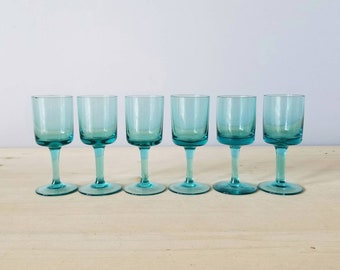 Vintage liqueur glasses | turquoise stemware set of six | cordial glasses |