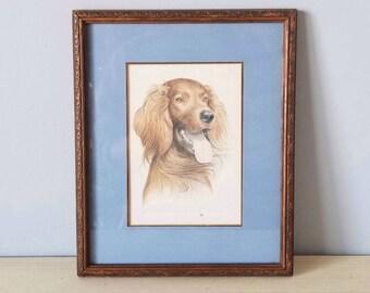 Vintage framed Irish Setter print | framed mid century artwork | dog art |