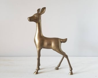 Vintage large brass deer | mid century brass fawn | Christmas decor