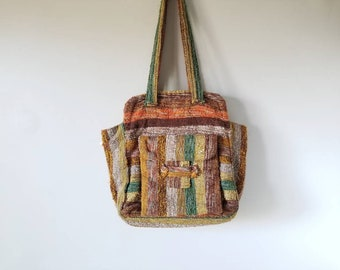 Vintage hand loomed hand bag | Au Terroir boho bag made in Canada | handmade purse | bohemian fashion | orange |