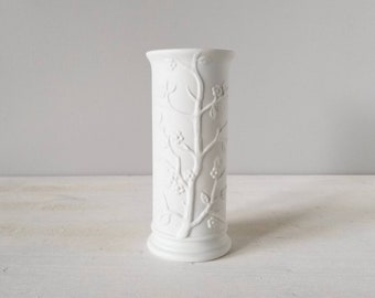 Vintage matte white vase   cherrywood blossom design   made in Japan   floral arrangement  
