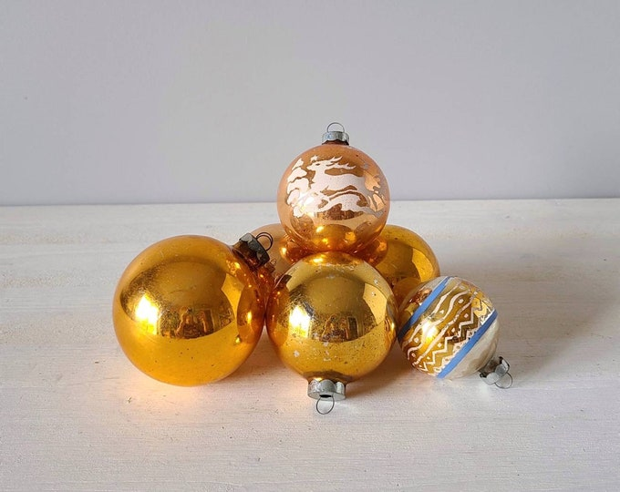 Vintage Christmas ornament lot of 6 pieces | blown glass |