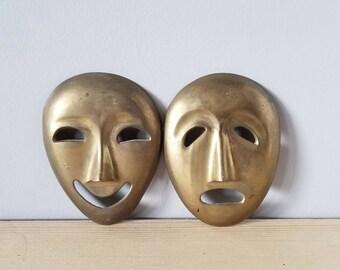 Vintage brass theatre mask pair  | wall decor | bohemian decor |